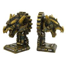 HAND PAINTED COLD CAST RESIN STEAMPUNK DRAGON BOOKENDS 9 7/8