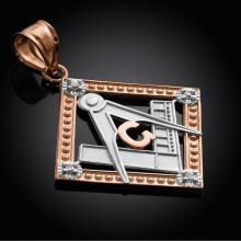 10K Two-Tone Rose Gold Square Freemason Diamond Masonic Pendant