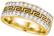 14kt Yellow Gold Mens Round Diamond Double Row Grecco Greek Key Wedding Band 1.00 Cttw