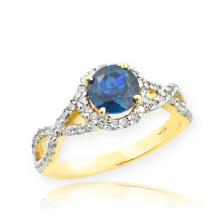 10K Gold Blue Topaz Birthstone Infinity Ring with Diamonds APPROX 1.60 CTW (VS2-SI1)