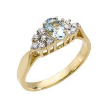 10K Yellow Gold Aquamarine and Diamond Proposal Ring APPROX .60 CTW