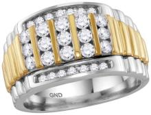 14kt Two-tone White Gold Mens Round Diamond Cluster Ring 1.00 Cttw