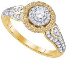 10kt Yellow Gold Mens Round Diamond Flared Christian Cross Charm Pendant 5/8 Cttw