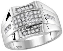 10kt White Gold Mens Round Pave-set Diamond Domed Rectangle Cluster Ring 1/4 Cttw