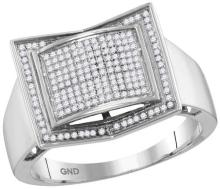 10kt White Gold Mens Round Diamond Square Domed Cluster Ring 1/3 Cttw