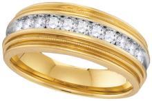 10kt Yellow Gold Mens Round Diamond Milgrain Ridged Wedding Anniversary Band Ring 1/2 Cttw