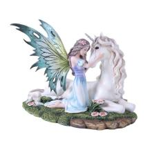HAND PAINTED RESIN FAIRY WITH UNICORN 8 1/4