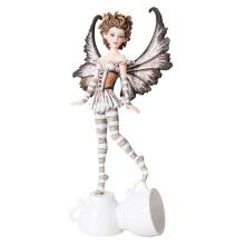 HAND PAINTED RESIN ESPRESSO FAIRY 4 1/4