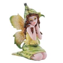 HAND PAINTED COLD CAST RESIN SMALL SITTING FAIRY 2 3/4
