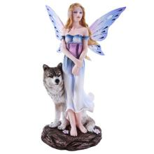 HAND PAINTED COLD CAST RESIN FAIRY WITH WOLF 6 1/4