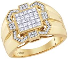 10kt Yellow Gold Mens Princess Diamond Octagon Frame Cluster Ring 7/8 Cttw