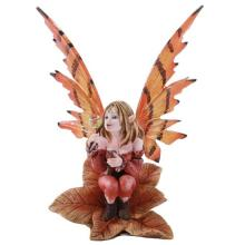 HAND PAINTED COLD CAST RESIN AUTUMN FAIRY 4 3/4