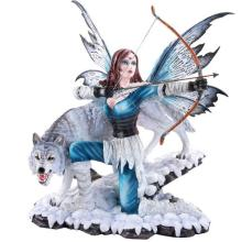 HAND PAINTED COLD CAST RESIN FAIRY WITH WOLF 15 1/2