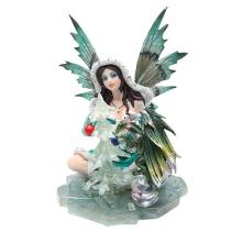 HAND PAINTED RESIN FAIRY WITH DRAGON 5 1/8