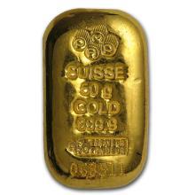 50 gram Gold Bar - PAMP Suisse (Cast, w/Assay) #22437v3