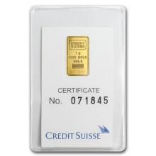 1 gram Gold Bar - Credit Suisse Statue of Liberty (In Assay) #22387v3
