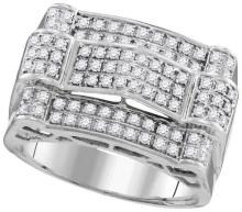 10kt White Gold Mens Round Diamond Symmetrical Arched Cluster Ring 1.00 Cttw