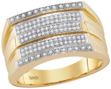 10kt Yellow Gold Mens Round Diamond Striped Groove Cluster Ring 1/3 Cttw
