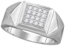 10kt White Gold Mens Round Diamond Faceted Square Cluster Ring 1/3 Cttw