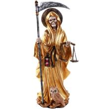 HAND PAINTED RESIN SANTA MUERTE GOLD 4 1/2