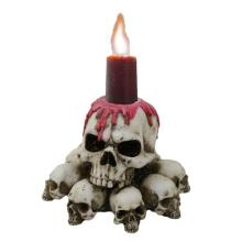 HAND PAINTED RESIN SKULL CANDLE HOLDER L: 3 3/4