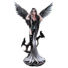 HAND PAINTED RESIN DARK ANGEL WITH RAVENS 15 3/4