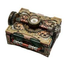 HAND PAINTED COLD CAST RESIN STEAMPUNK BOX W/COMPASS L: 6 1/4