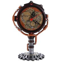 HAND PAINTED COLD CAST RESIN STEAMPUNK CLOCK 4 1/2