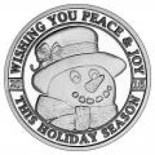 Christmas 2016 Silver Round X-2 Peace and Joy Snowman