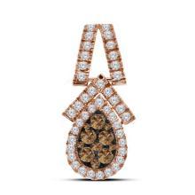 10kt Rose Gold Womens Round Cognac-brown Colored Diamond Teardrop Cluster Pendant 7/8 Cttw