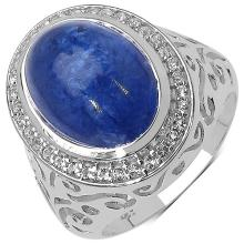 9.04 Carat Genuine Tanzanite & White Topaz .925 Streling Silver Ring