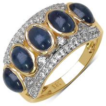 14K Yellow Gold Plated 2.75 Carat Genuine Blue Sapphire .925 Sterling Silver Ring