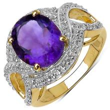 14K Yellow Gold Plated 3.51 Carat Genuine Amethyst & White Topaz .925 Streling Silver Ring