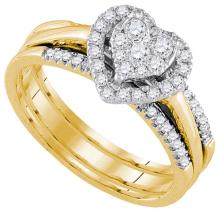 14k Yellow Gold Womens Natural Round Diamond Amour Heart Bridal Wedding Engagement Ring Band Set 1/2 Cttw