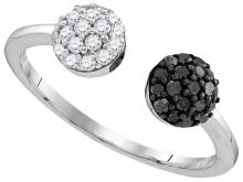 Sterling Silver Womens Round Black Colored Diamond Cluster Open Fashion Band Ring 1/3 Cttw