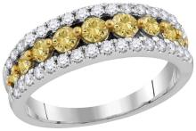 14kt White Gold Womens Round Yellow Natural Diamond Fashion Band Ring 2 & 1/20 Cttw