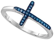 Sterling Silver Womens Round Blue Colored Diamond Christian Cross Cluster Fashion Ring 1/20 Cttw