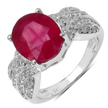 4.36 Carat Genuine Ruby .925 Sterling Silver Ring