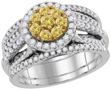 14kt White Gold Womens Round Yellow Natural Diamond Bridal Wedding Engagement Ring Band Set 2.00 Cttw