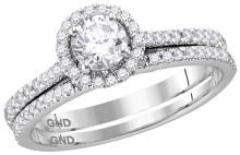 14k White Gold Womens Natural Round Diamond Slender Bridal Wedding Engagement Ring Band Set 7/8 Cttw