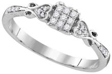 Sterling Silver Womens Princess Natural Diamond Cluster Bridal Wedding Engagement Ring 1/6 Cttw