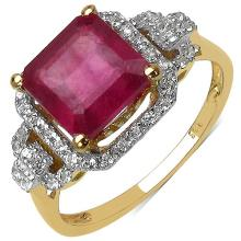 14K Yellow Gold Plated 2.55 Carat Genuine Ruby .925 Sterling Silver Ring