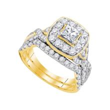 14kt Yellow Gold Womens Princess Natural Diamond Bridal Wedding Engagement Ring Band Set 2.00 Cttw