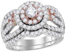 14kt White Rose 2-tone Gold Womens Round Natural Diamond Halo Bridal Wedding Engagement Ring Band Set 1 & 1/2 Cttw