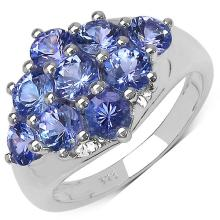 2.07 Carat Genuine Tanzanite .925 Sterling Silver Ring