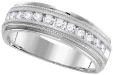 14kt White Gold Mens Round Natural Diamond Band Wedding Anniversary Ring 1.00 Cttw