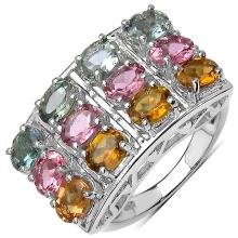 4.24 Carat Genuine Tourmaline .925 Sterling Silver Ring