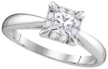 14kt White Gold Womens Princess Natural Diamond Solitaire Bridal Wedding Engagement Ring 1/2 Cttw