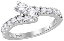 14kt White Gold Womens Round Diamond 2-stone Bypass Bridal Wedding Engagement Ring 1.00 Cttw