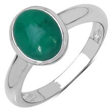 1.90 Carat Genuine Emerald .925 Sterling Silver Ring
